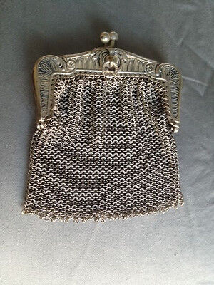 Antique silver woven mini purse from France wallet