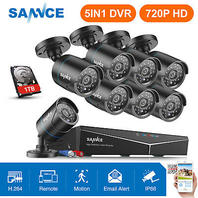 SANNCE HD 1080P HDMI 8CH 5in1 DVR In/ Outdoor IR CCTV Security Camera System 1TB