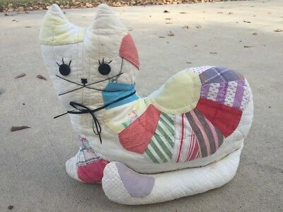 Vintage Stuffed Cat Made From Antique Quilt Cutter Primitive Farmhouse