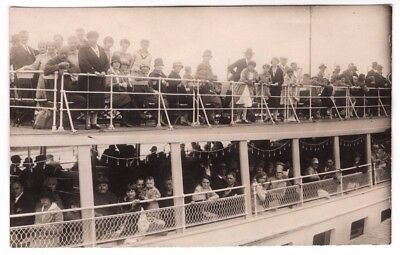 Antique Ship Boat with Passengers RPPC Real Photo Postcard Early 1900's Unused