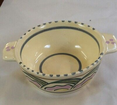 VINTAGE /HONITON POTTERY two handle dish HAND PAINTED,