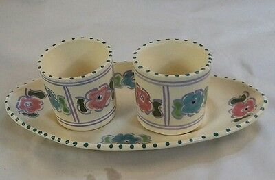 Vintage /honiton Pottery Two Condiment Dishes On Stand Hand Painted,