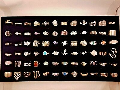 LOT OF 72 STERLING SILVER 925 RINGS  Different size 5-9   342 gr