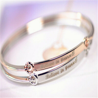 Fashion Believe in Yourself Letters Bracelet Jewelry Charm Cuff Bangle Valent KP