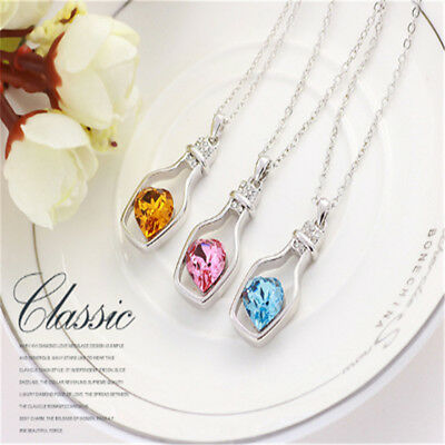 Women Necklace Ladies Jewellery Crystal Pendant Chain Silver Gold Pink Blue