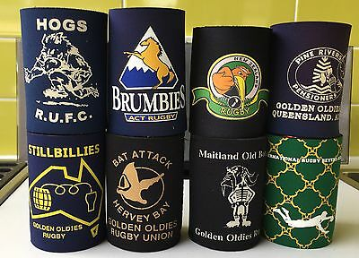 8 different Rugby Union stubby holders New Zealand Brumbies Golden Oldies ++