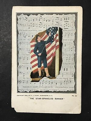 Antique USA Patriotic Postcard STAR SPANGLED BANNER Soldier Flag P.J. Plant 1904