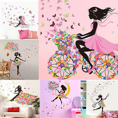 Butterfly Flower Fairy Wall Stickers Removable Bedroom Living Room Home Decor