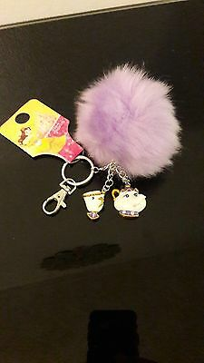 Beauty And The Beast Chip Cup And Mrs Potts Fluffy Key Chain