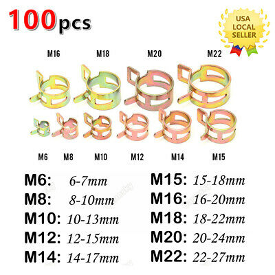 100 Spring Clip Water Pipe Fuel Line Hose Air Tube Clamp Fastener 6-22mm 10Sizes