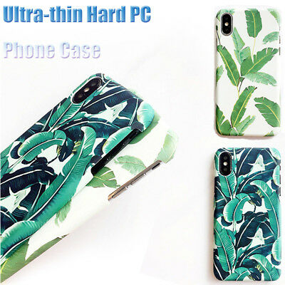 For iPhone X Tropical Green Plant Leaf Hard PC Ultra Thin Matte Phone Case Cover