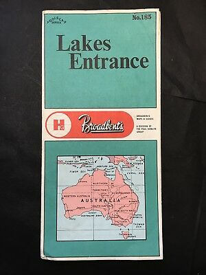 Vintage BROADBENT'S MAP & GUIDE to LAKES ENTRANCE VIC No 185 Distance in Miles