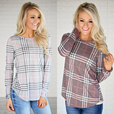 US STOCK Women's Long Sleeve Plaid T-Shirt Casual Blouse Tops T-shirt Pullover