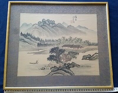 Vintage Handpainted Watercolour on Silk Art  Signet Oriental Chinese or Japanese