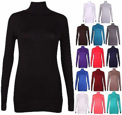 Womens New Plus Size Long Sleeve Ladies Stretch Polo Turtle Neck Long Tunic Top