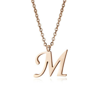 Quality TT Rose Gold S.Steel Inital Letter M Pendant Necklace (NP356M) NEW