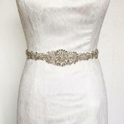 Luxury Crystal Rhinestone Wedding Dress Belt Diamante Bride Shower Applique Sash