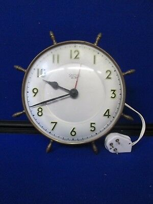 Vintage Smiths Sectric Nautical Ships Wheel Clock Made In England
