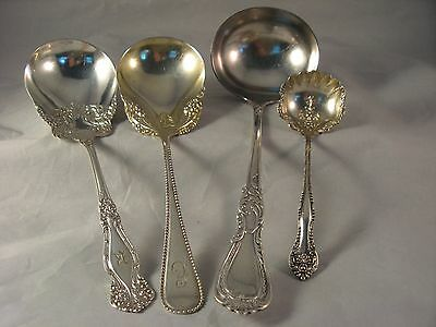 Lot of 4 Silver Plate Serving Spoons and Ladles Rogers Mixed Patterns - EUC
