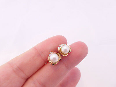9ct/ 9k gold Diamond & cultured Pearl Art Nouveau design vintage earrings, 375