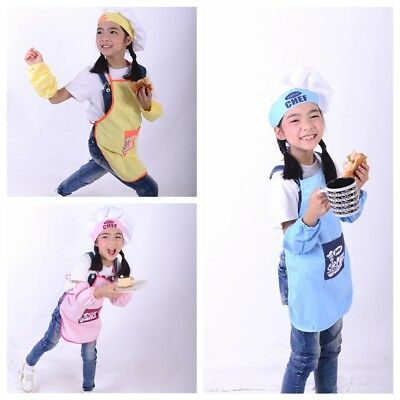 Children Apron+ Chef Hat Set Kids Craft Art Cooking Baking DIY Painting Baby New