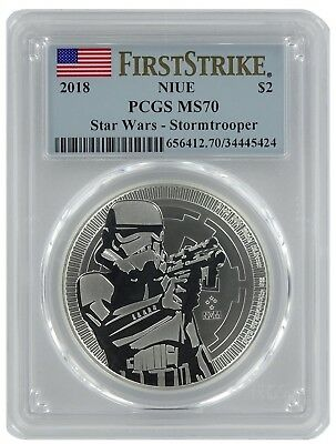 2018 Niue 1oz Silver Star Wars Stormtroopers Coin PCGS MS70 - First Strike