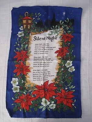 "Vintage(?) Ulster Christmas Carol""Silent Night"" Poinsettia/Holly Linen Tea Towel"