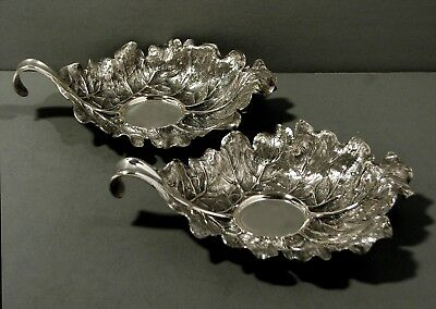 "Italian Silver Chamber Candlesticks  (2)  SIGNED        "" HAND CRAFTED LEAVES """