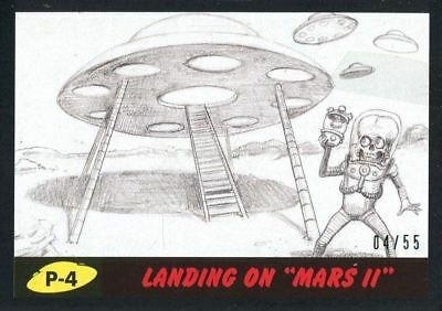 "Mars Attacks The Revenge Black [55] Pencil Art Base Card P-4 Landing on ""Mars"