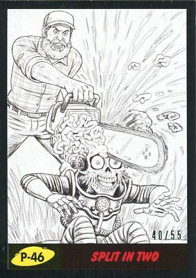 Mars Attacks The Revenge Black [55] Pencil Art Base Card P-46 Split in Two