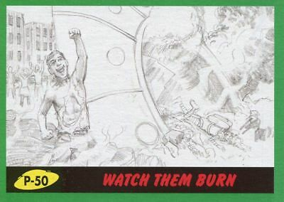Mars Attacks The Revenge Green Pencil Art Base Card P-50 Watch them Burn