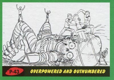 Mars Attacks The Revenge Green Pencil Art Base Card P-43 Overpowered and Outnum