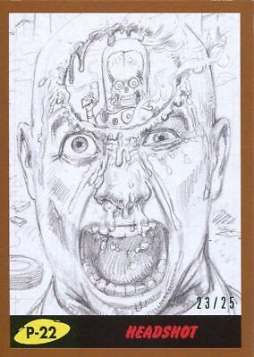 Mars Attacks The Revenge Bronze [25] Pencil Art Base Card P-22 Headshot