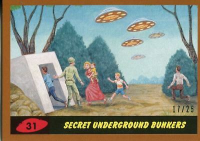 Mars Attacks The Revenge Bronze [25] Base Card #31 Secret Underground Bunkers