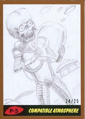 Mars Attacks The Revenge Bronze [25] Pencil Art Base Card P-5 Compatible Atmosp