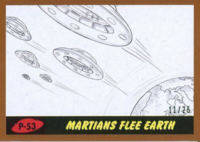 Mars Attacks The Revenge Bronze [25] Pencil Art Base Card P-53 Martians Flee Ea