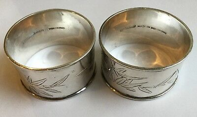 Pair Of Solid Silver Chinese Napkin Rings