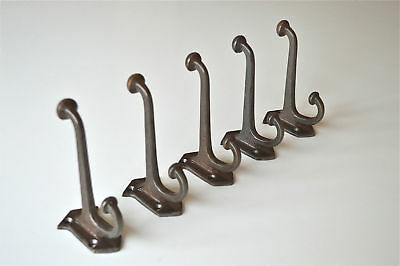 5 Edwardian Upton style cast iron double coat hook hanger C/W screws ALR4