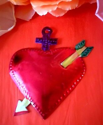 Authentic Mexican Tin Folk Art Wounded Repoussed Heart w/ Dagger Milagro #01