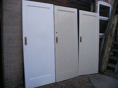 Reclaimed 1930s single panel pitch pine doors. Painted