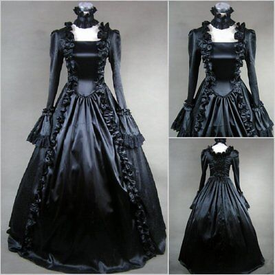 2017 Renaissance Victorian Gothic Black Dress Gown Theater Steampunk Clothing