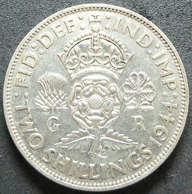 1944 Great Britain .1818 Ounce Silver Two Shilling Coin