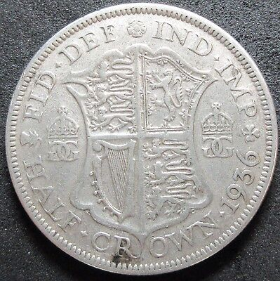 1936 Great Britain .2273 Ounce Silver Half Crown Coin