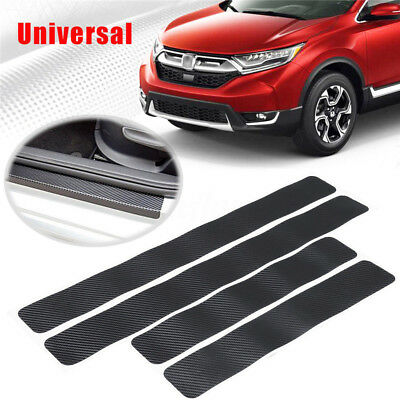 Universal 4PCS Car Door Sill Scuff Welcome Pedal Protect Carbon Fiber Stickers
