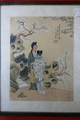 FINE ANTIQUE CHINESE ANCESTOR  PAINTING - INK & COLOURS - Signed