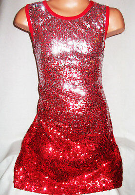 GIRLS 60s STYLE RED SILVER GLITTERY SEQUIN GLAMOROUS DISCO DANCE PARTY DRESS TOP
