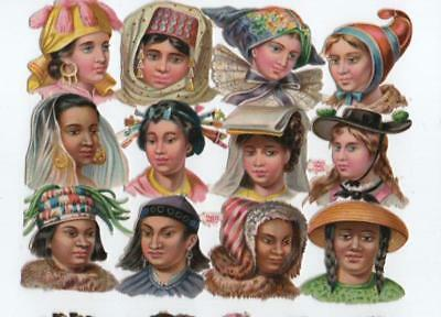 Victorian Die Cut Relief Scrap Sheet. Ethnic women. Pub'd Priester & Eyck #269