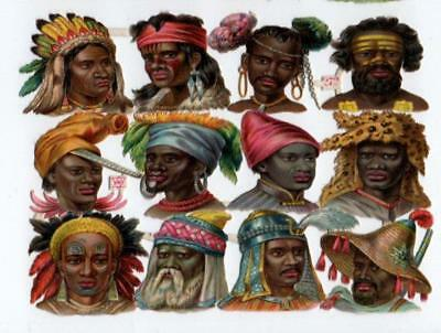 Victorian Die Cut Relief Scrap Sheet. Ethnic men. Pub'd Priester & Eyck #272