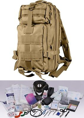 Coyote Brown First Responder EMS 200pc Military EMT Trauma Kit Transport Pack