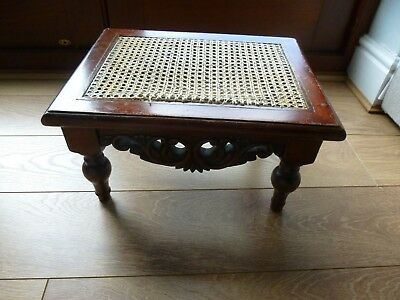 A Fine Victorian Foot Stool With Cane Top On Turned Legs Superb Carving